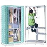 Tragbare schrank kleiderschrank - kleider schrank lagerung organizer und vliesstoff stehend garderobe mit hängenden rack und 3 regale für die aufbewahrung von kleidung safe, Staubdichte abdeckung durch-C 189x101.5cm(74x40inch)