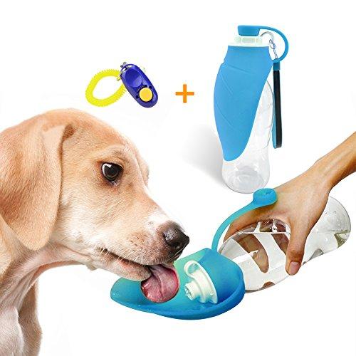 UnAmico Portable Dog Wasserflasche, reversibel und leicht Reisewasser mit auslaufsicheren Trinkflasche für Hunde oder Katzen, aus lebensmittelechtem Silikon 20 Oz (Gratis Geschenk Hund Trainer) -
