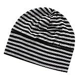 F Fityle Männer Frauen Kappe aus Baumwolle Hut Mütze Beanie Strickmütze Kopfbedeckung Schlafmütze Baumwollkappe - Schwarz Grau