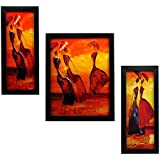 3 PIECE SET OF FRAMED WALL HANGING ART PRINTS PAINTINGS - B071QWR5FY