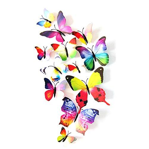 Eizur 12 pezzi in 3D con farfalla magnete Crafts Collection-Adesivi da parete rimovibili DIY magneti per frigorifero Art Decoration-Decorazione da parete per cameretta con Stick di colla Arcobaleno