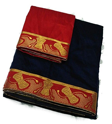 Generic Chanderi Saree With Blouse Piece (New_98_Blue_Free Size)