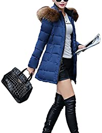 Chaqueta Abrigo Parka con Capucha de Invierno para Mujer Azul XL