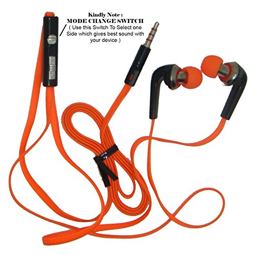 XLK Tangel Free K1003 high-comfort ear headphones smartphone bass ear phone HIGH QUALITY IN-EAR EARBUD STEREO TANGLE-FREE HANDS-FREE HEADSET EARPHONE HEADPHONE EARBUD IN-EAR WITH MODE + MIC FOR IPHONE / SAMSUNG GALAXY MOBILE / MAC / PC / MUSIC PLAYERS /ALL MOBILES - 3.5 MM Black - Orange