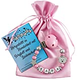 Personalisierte Schnullerkette mit Namen aus Holz in Rosa für Mädchen | verschiedene Designs verfügbar| perfektes Baby-Geschenk zur Geburt und Taufe (Design2)