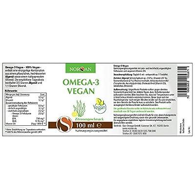 Omega-3 Oil Vegan, Vegetable Algae Oil, Pleasant Taste, Very High In EPA and DHA, 100ml by Norsan, German Label