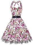 OTEN Vintage Kleider, Frauen mit Blumenmuster, 1950er-Jahre, Rockabilly Neckholder-Kleid Gr. X-Large, pink floral