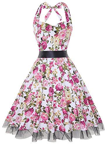oten Vintage Kleider, Frauen mit Blumenmuster, 1950er-Jahre, Rockabilly Neckholder-Kleid Gr. XXX-Large, pink floral -