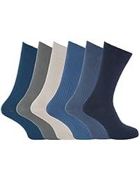 Chaussettes striées grande taille (EUR 45-49) 100% coton (lot de 6 paires) - Homme