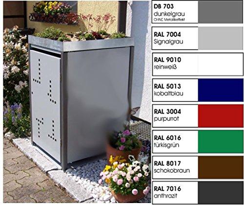 Metall Mülltonnenbox für 1 Tonne, Müllcontainer, Müllbox. Made in Germany. # Größe: Für 1 Tonne bis 240 l # Farbe: Farbenauswahl per EMail angeben # Dach: Mit Pflanzwanne # Stanzung: Serie