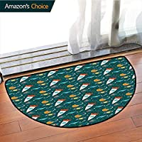 Spaceship Non-Slip Soft Porch Door Floor Mat,Colorful Cartoon Dotted Background with Space Rocket Toys Illustration Abstract Printing Rug,for Front Door Home Office Kitchen Entrance Mat, Multicolor