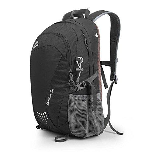 Frühling und Sommer Outdoor-Reisen Rucksack wasserdicht camping Tasche outdoor Tasche Student Rucksäcke für Männer und Frauen 30L Black
