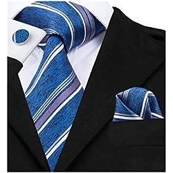 Juego de corbatas de bolsillo Barry.Wang de seda con diseño de rayas Azul azul marino Taille unique
