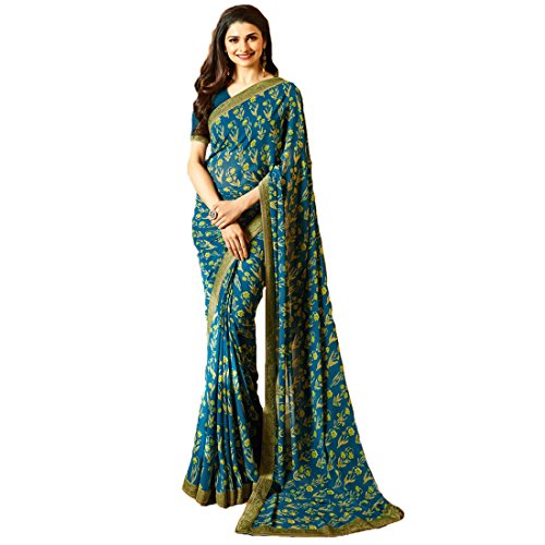 Mantra Georgette Saree For Women With Blouse Pices
