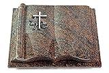 MEMORUM Grabmale Grabbuch, Grabplatte, Grabstein, Grabkissen, Urnengrabstein, Liegegrabstein Modell Antique 40 x 30 x 8-9 cm Paradiso-Granit, Poliert inkl. Gravur (Aluminium-Ornament Kreuz 1)