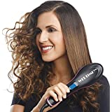 Weltime Hair Electric Comb Brush 3 in 1 Ceramic Fast Hair Straightener For Women's Hair Straightening Brush with LCD Screen, Temperature Control Display,Hair Straightener For Women (Black)
