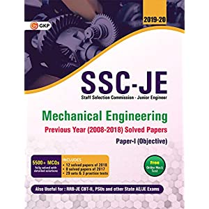 SSC JE Paper I (CWC/MES) Mechanical Engineering – Previous Years Solved Papers (2008-18)