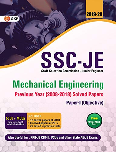 SSC JE Paper I (CWC/MES) Mechanical Engineering - Previous Years Solved Papers (2008-18)