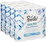 Marque Amazon - Presto! Papier toilette 3 épaisseurs– MATELASSÉ - Lot de 36 (4 x 9 x 200 feuilles)