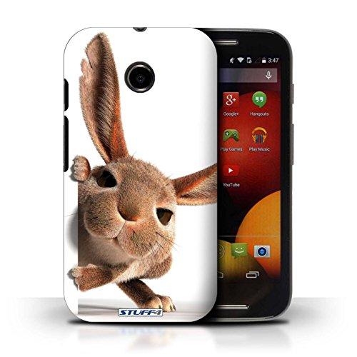 Kobalt® Imprimé Etui / Coque pour Motorola Moto E (2014) / Museau de giraffe conception / Série Animaux comiques Petit lapin curieux