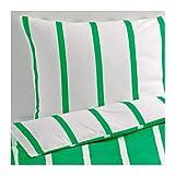 IKEA TUVBRÄCKA Bettwäscheset in grün/weiß; 3tlg.; (240x220cm und 80x80cm)