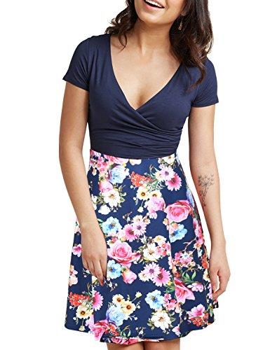 e4cc1d0a1968 BMJL blu scuro manica corta al ginocchio lunghezza fiore patchwork stampa  floreale stile vintage casual party 2 pezzi vestito estivo per le donne