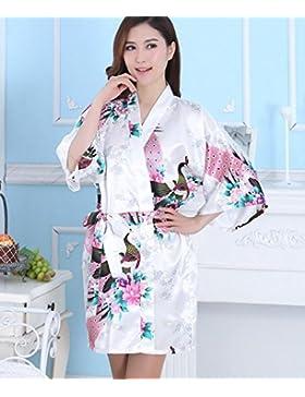 LJ&L Bianco breve seta stampa confortevole simulazione estate camicia da notte del cardigan traspirante moda kimono...