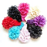 10pcs Cute Polka Dots Chiffon Flower Kids Baby Girls Headbands Hairbands Headwears(Random Color)