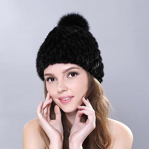 Tricoté hiver bobble naturel fourrure chapeau fourrure vison bonnet femmes Noir