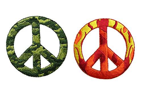 altotux 2Pcs Camouflage Flame Peace Zeichen selbstklebend Eisen auf Applikationen Patch (Kombination) -