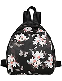 Outtop Fashion Women Girls Printing Lovely Travel Zipper Backpack School Bags (Black)