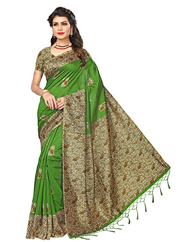 AKHILAM Women's Art Silk Saree with Unstitched Blouse Piece (Green_Free Size)