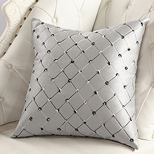 Decor Mehrfarbige Plaids Throw Pillow Case Square Kissenbezug Silber Grau (Halloween-dekorationen Auf Pinterest)