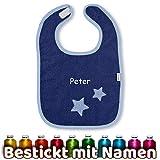 Sterntaler Lätzchen Spucktuch Stern Stanley mit Namen bestickt, Junge Blau, Baby Sterne Lätzchen - Halstuch - Babylätzchen personalisiert, Baumwolle, 26 x 38 x 0,5 cm