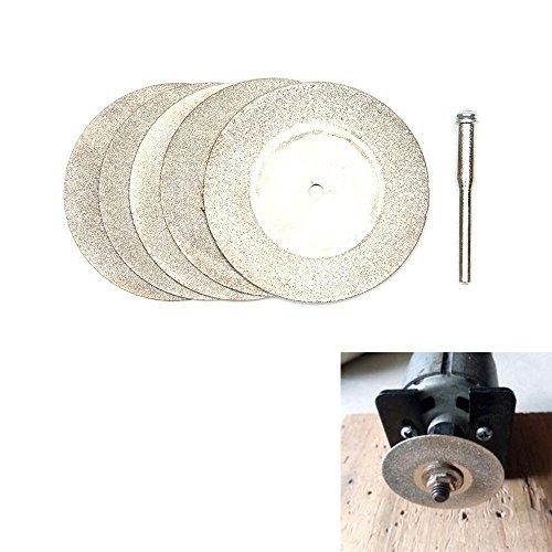 Hakkin 5pcs disco de corte de diamante rueda muela de cortar 50mm + 1x mandril (acero Pr herramienta giratoria para cortar el madera, el vidrio, el plástico, el metal, el mármol, la mampostería, la piedra, el hormigón y la fibra de vidrio, etc