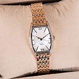 CHCHIINCHCH Uhren Top-Weibliche Uhr Weibliche Uhr Fashion Square Diamond Shell Dial Ultra-dünne Wasserdichte Quarzuhr, Rose Gold