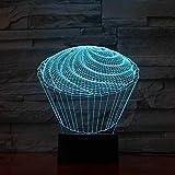 SSYYJJ 3D Illusion Nachtlampe für Kinder Dekoration Geburtstag Geschenk Tischlampen Die Spirale Kuchen Baby Schlaf Nachttisch Armaturen Kinder toyss