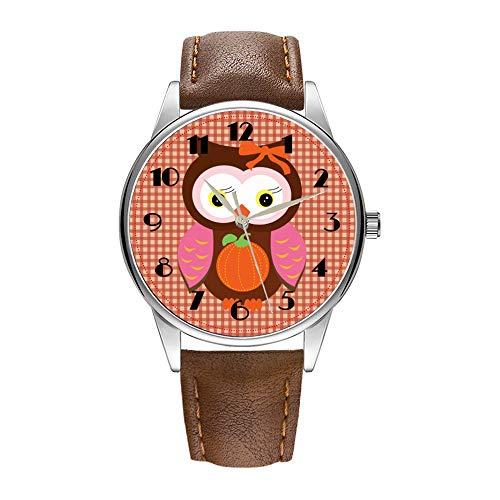 Herrenuhr braune Cortex-Quarz-Uhr für Männer berühmte Luxus-Armbanduhr Quarzuhr für Geschäftsgeschenk Autumn Owls Watches (Owl Hat Männer)