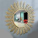Furnish Craft Leaf Improved Designed Wall Mirror for Home Decor, Living Room, Bedroom, Bathroom
