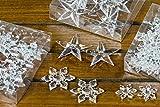 B&B 72 Stück Kristalle Sterne Schneeflocken 3 Pack Diamanten Acryl Streuteile Weihnachtsdeko Tischdeko Basteln klar Hochzeit Winter Deko Weihnachten