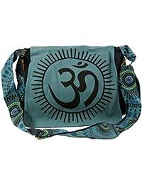 Guru-Shop Schultertasche, Hippie Tasche, Goa Tasche Om - Grün, Herren/Damen, Baumwolle, 23x28x12 cm, Alternative Umhängetasche, Handtasche aus Stoff