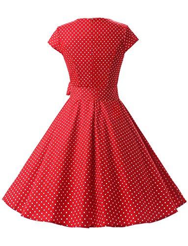 Dressystar Damen Vintage 50er Cap Sleeves Dot Einfarbig Rockabilly Swing Kleider Rot Weiß Dot A