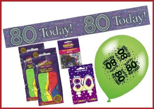 Unisex 80. Geburtstag Party Pack–Enthält Party Banner, Doppel Zahlen Rainbow Kerze, Zahl Konfetti