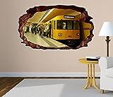 3D Wandtattoo Metro Station Zug Bahn Berlin selbstklebend Wandbild Tattoo Wohnzimmer Wand Aufkleber 11M1853, Wandbild Größe F:ca. 97cmx57cm