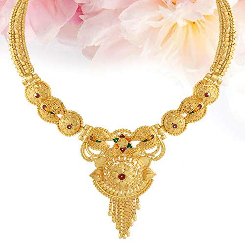 Mansiyaorange Traditional Party One Gram Gold Work Golden Necklace Jewellery Sets for Women(Wax Forming)