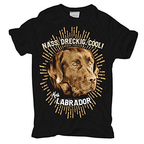 Männer und Herren T-Shirt Labrador - NASS DRECKIG COOL Körperbetont schwarz