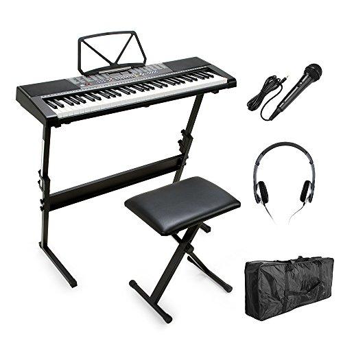 Smart 61 Tasten MK-2108 Elektronische Keyboard Beleuchtung LCD-Display Tastatur-Klavier mit Notenständer Bildschirm mit Notenständer, Sitzbank, Mikrofon, Kopfhörer, Tastatur-Tasche