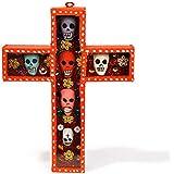 Fantastik - Cruz mexicana de madera con cabezas de calavera