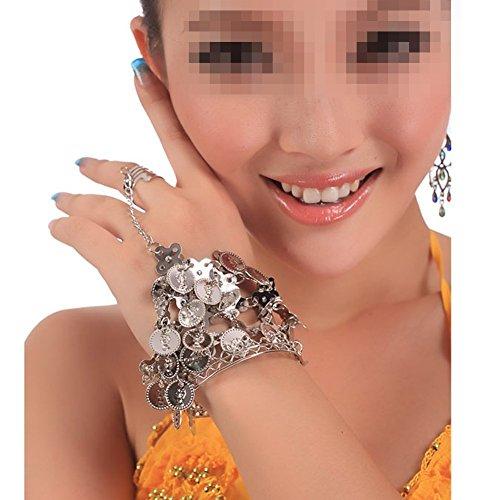 TININNA 2 paires Femmes Charment Fer Bracelet De Danse Du Ventre Bracelet Cheville Manchette Poignet Avec Mode Accessoires de Danse du Ventre Bracelets Argent