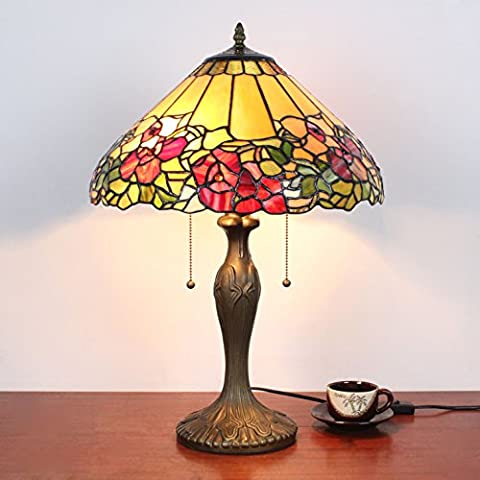 16 Inch Vintage Pastoral Gorgeous Sweet Flowers Stained Glass Table Lamp Bedroom Lamp Bedside Lamp